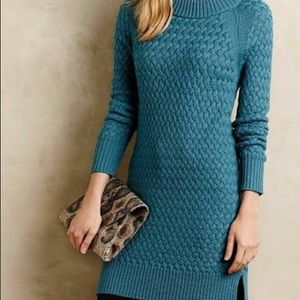Moth for Anthro 100% Wool Woven Knit Tunic Sweater